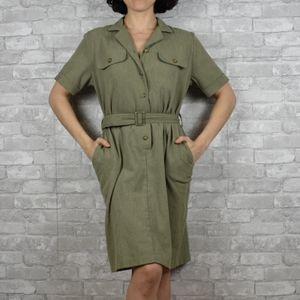 Vintage dress Alfred Dunner medium green cargo